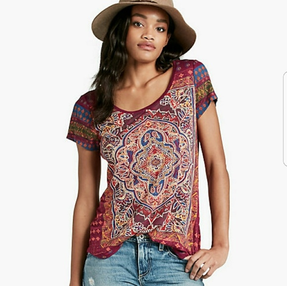 cef2124568bb0 Lucky Brand Tops - Lucky brand Persian Carpet Mandela print Tee XS